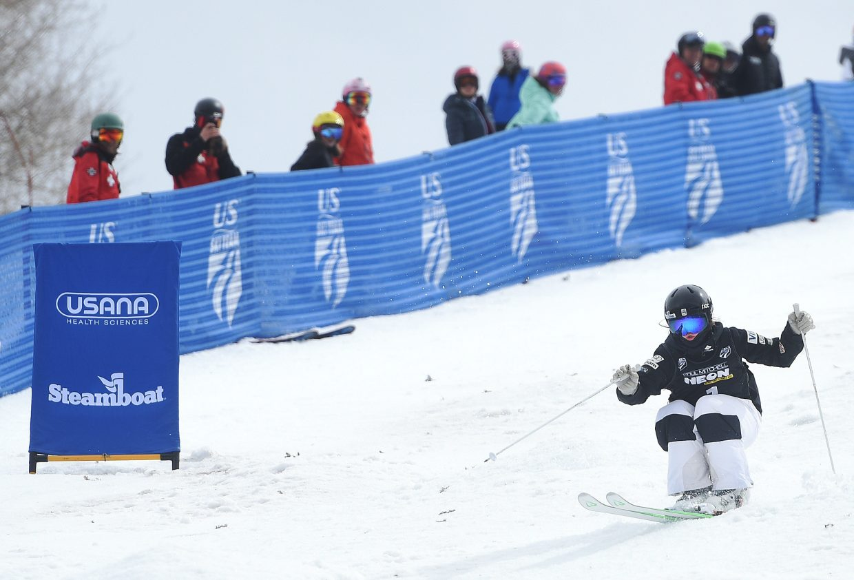 Jaelin Kauf skis Friday in the U.S. Freestyle National Championships women's moguls competition in Steamboat Springs in March.