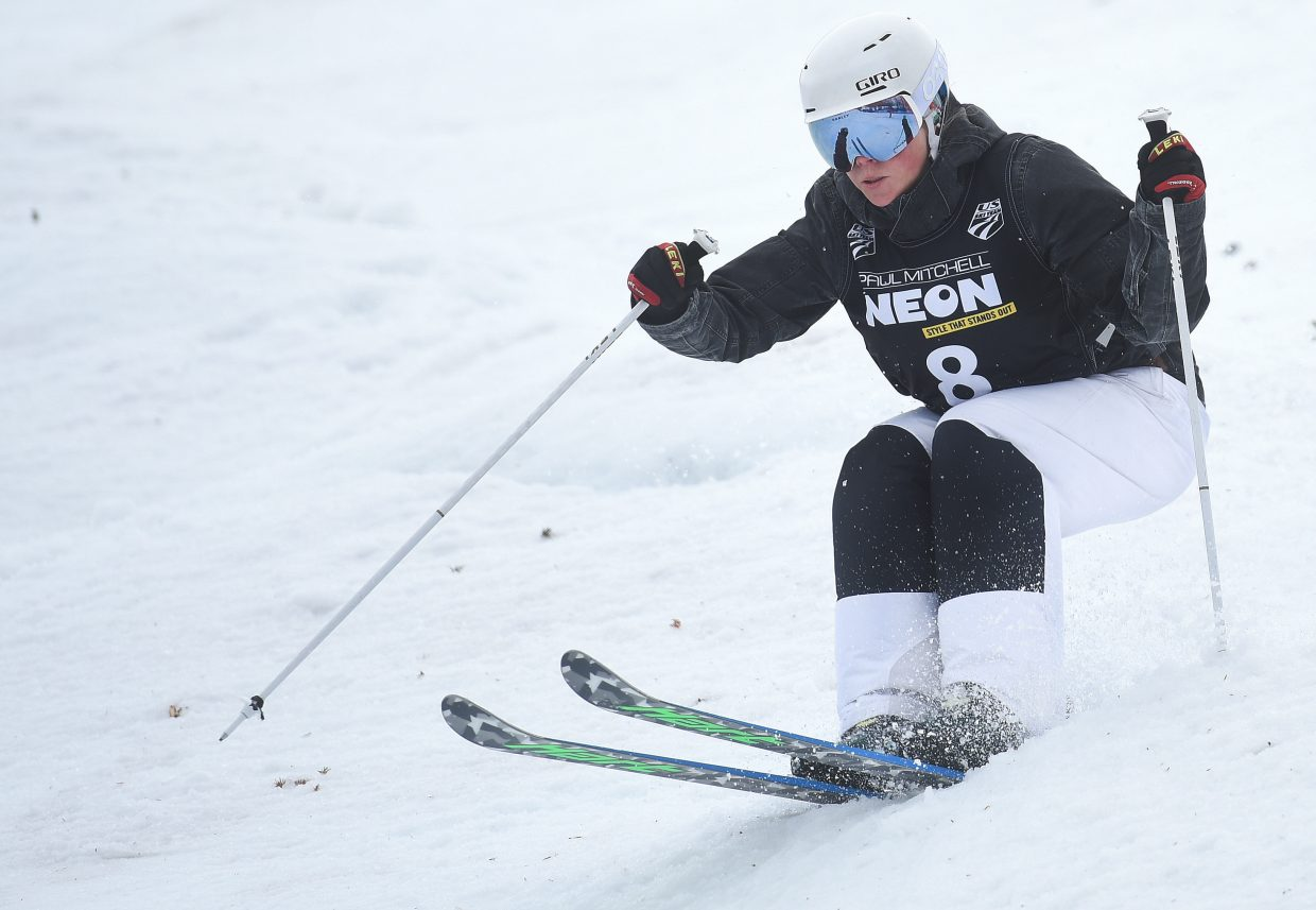 Vail's Heidi Kloser skis down Voodoo run at Steamboat Ski Area on Friday during the U.S. Freestyle National Championships women's moguls finals.