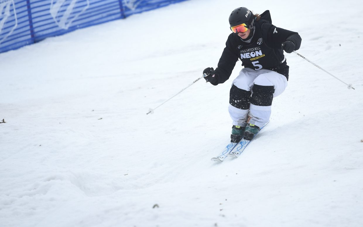 Steamboat's Lane Stoltzner cuts around a bump Friday in the U.S. Freestyle National Championships women's moguls finals.