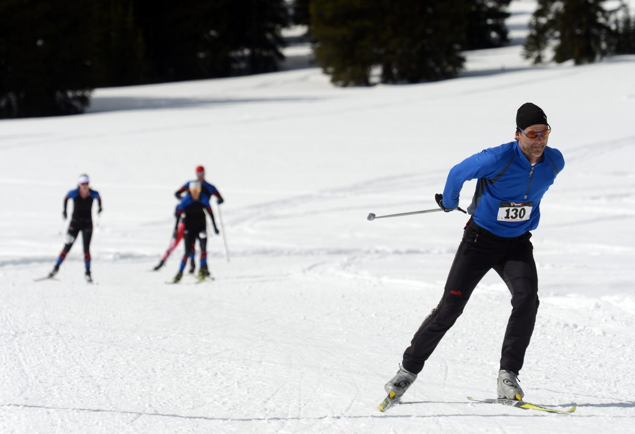 Steamboat Springs skier Scott Myller leads a pack toward the finish line during the 2013 Steamboat Coureur on Rabbit Ears Pass. That particular event was discontinued after that season, but a new race is returning this weekend to the same trails, the Rabbit Ears Marathon, set to run start at 10 a.m. Sunday.