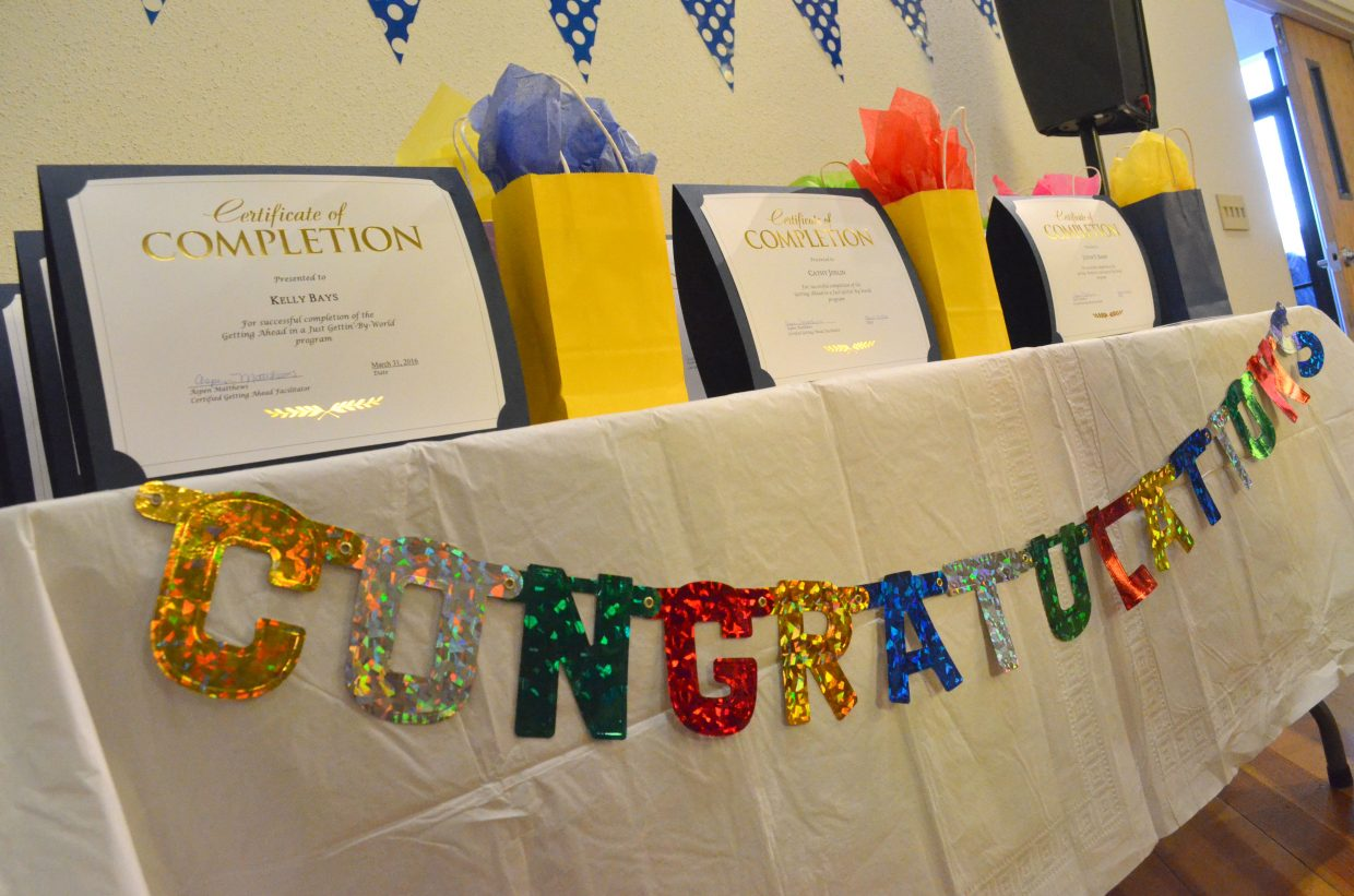 """The """"Getting Ahead in a Just-Gettin'-By World"""" program, part of Bridges Out of Poverty, graduated 12 people Thursday in a ceremony at Center of Craig, including Kelly Bays, Betsy Foos, Jordan Harmon, Danae Hicks, Cathy Joslin, Roscoe Lofton, Thomas Mathers, Aristel Nopee, Justin T. Shinn, Ashleigh Watson, Rick James Wieland and LJ Williams."""