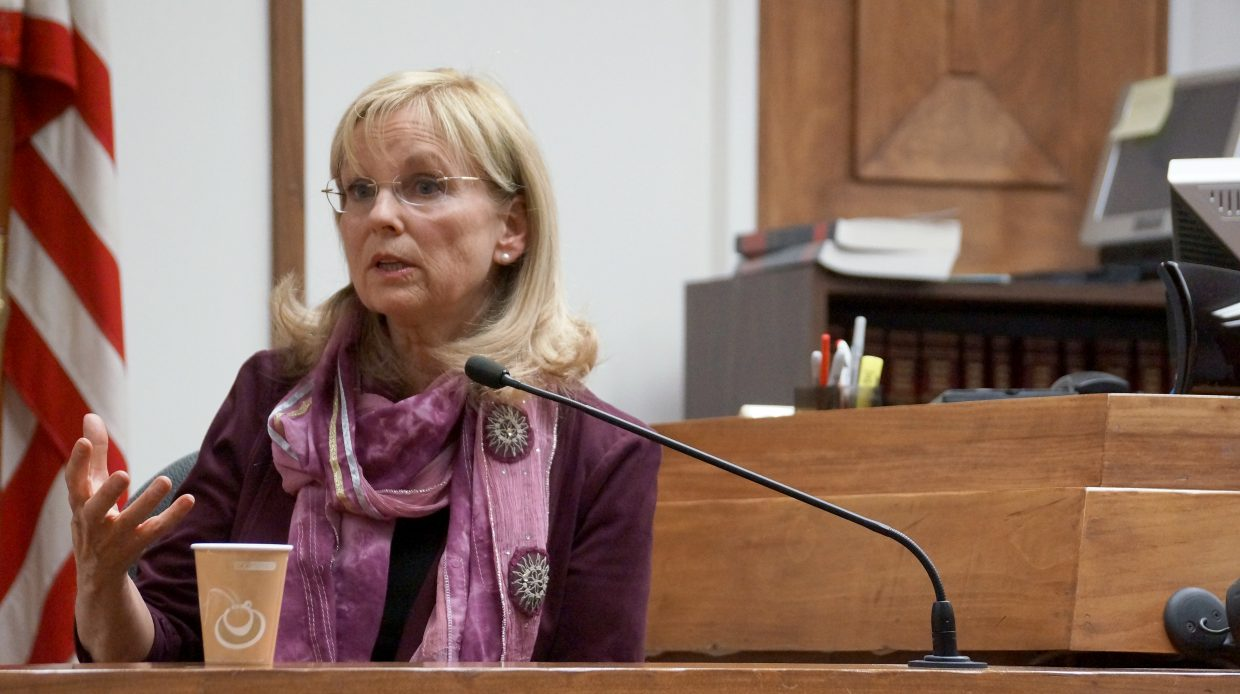 Vicki Lutz speaks to the jury about domestic violence on Friday afternoon at Moffat County Courthouse.