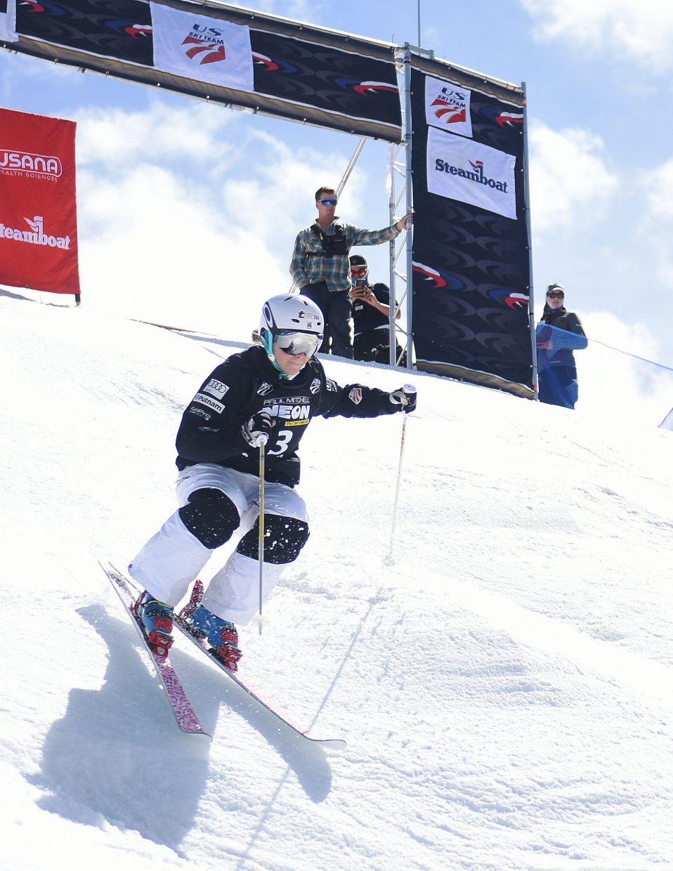 KC Oakley attacks the moguls course Saturday at the U.S. Freestyle National Championships in Steamboat Springs.
