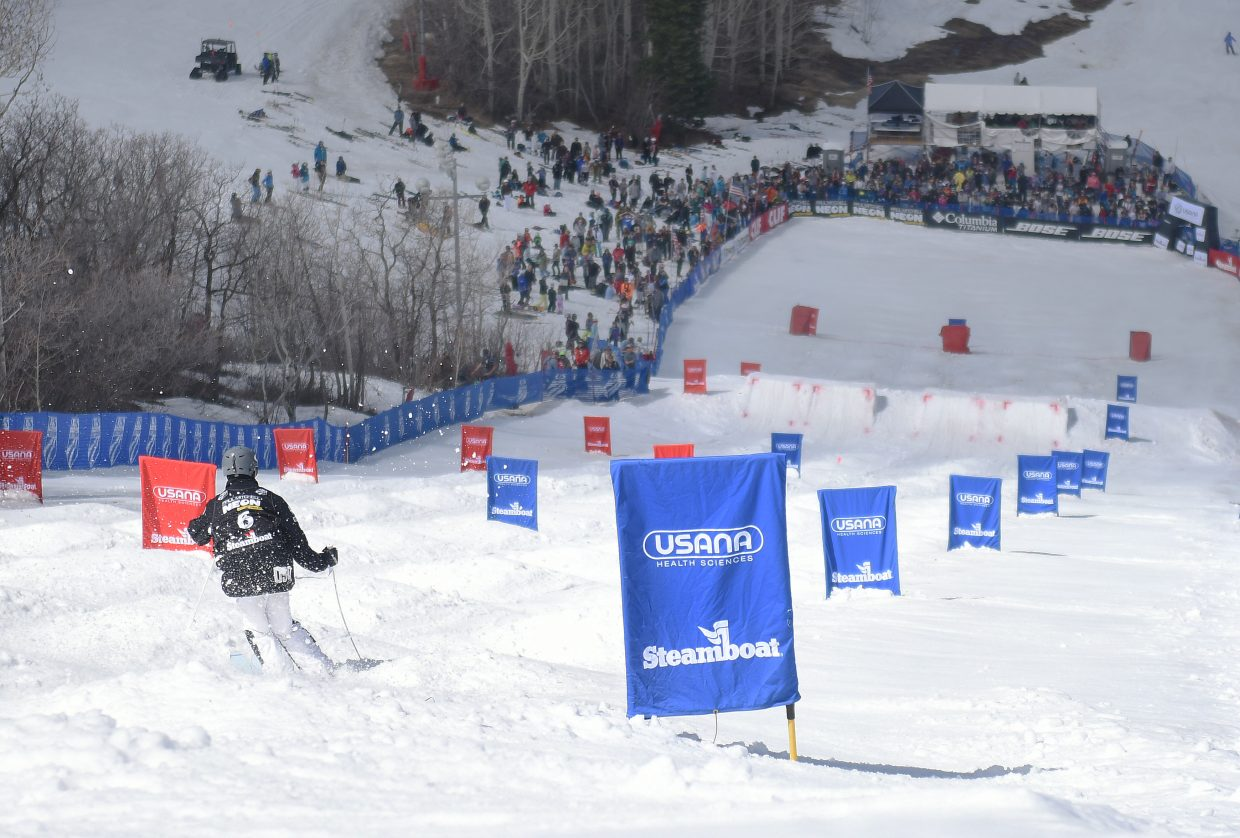Hunter Bailey skies down Voodoo run at Steamboat Ski Area on Saturday during the U.S. Freestyle National Championships.