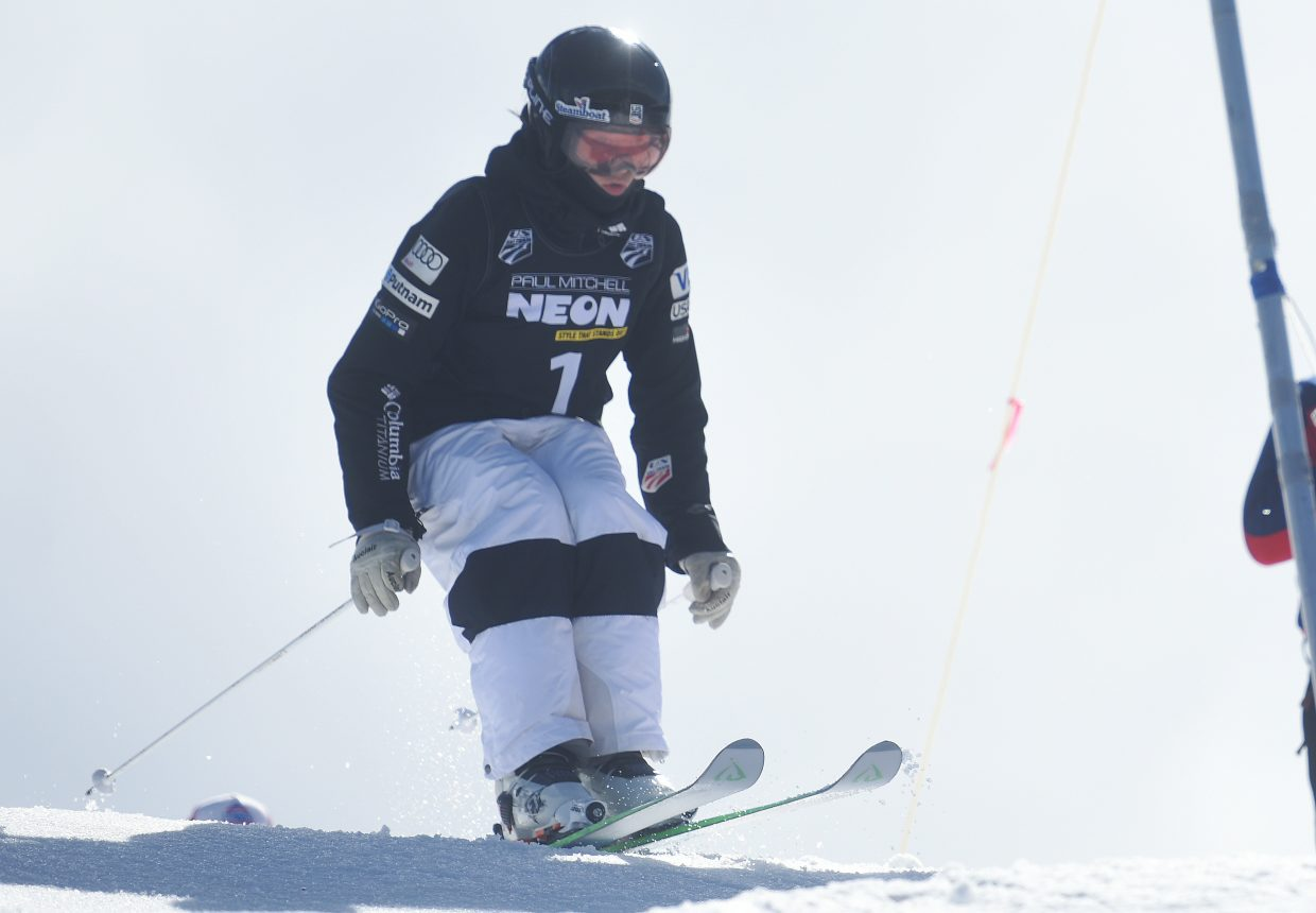 Jaelin Kauf kicks off from the start Saturday during the U.S. Freestyle National Championships in Steamboat Springs.