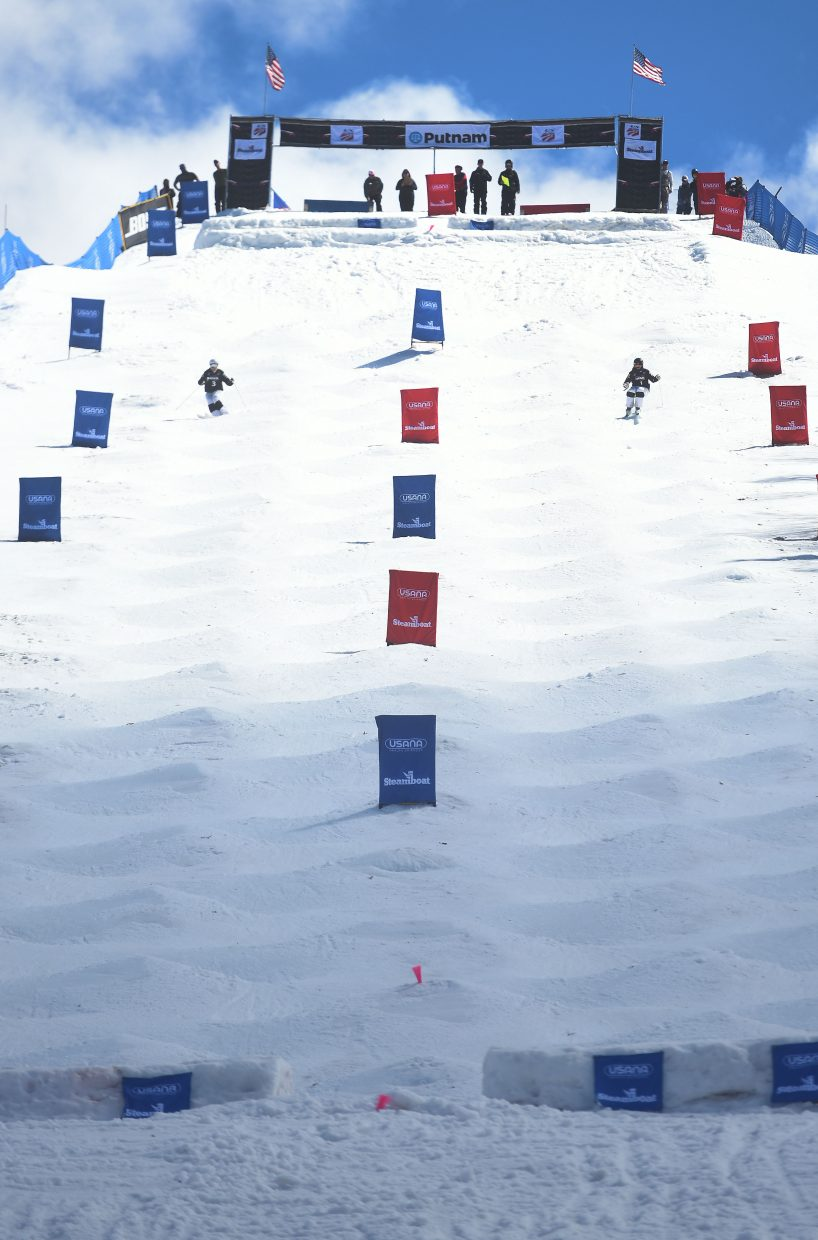 KC Oakley, left, and Jaelin Kauf square off in the women's dual moguls finals Saturday at the U.S. Freestyle National Championships in Steamboat Springs.