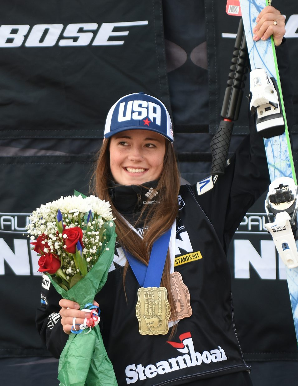 Steamboat Springs skier Jaelin Kauf celebrates after collecting two national championship medals at Steamboat Ski Area during the U.S. Freestyle National Championships. She was third on Friday in moguls, then came back to win dual moguls on Saturday.