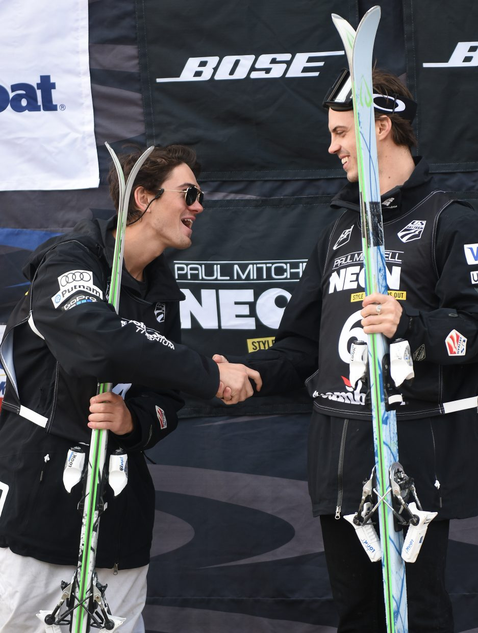 Vail skiers Hunter Bailey, right, and Emmerson Smith shake hands on the podium at U.S. National Championships. The pair went 1-2 in both Friday's and Saturday's events.