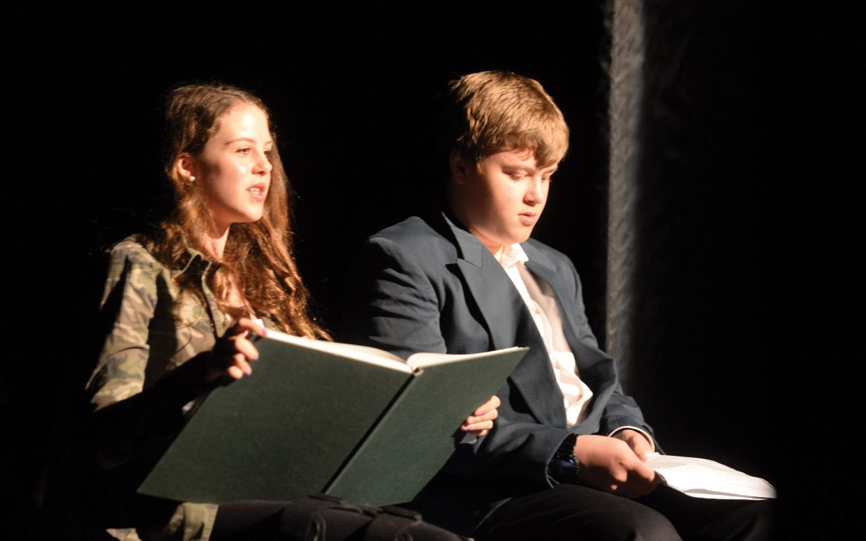 "Narrators Hayden Entress and Silas Boatwright rehearse a scene from Shakespeare's ""The Tempest"" on Wednesday at the Chief Theater in downtown Steamboat Springs. The middle school students will hold two performances at 2 and 6 p.m. Thursday at the Chief Theater."