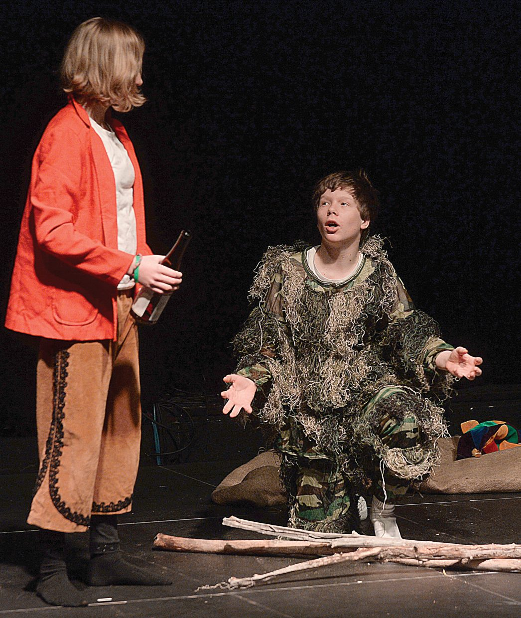 "Macayla Scheidt and Colton Oleski rehearse a scene from Emerald Mountain School's production of Shakespeare's ""The Tempest"" on Wednesday at the Chief Theater in downtown Steamboat Springs. The middle school students will hold two performances at 2 and 6 p.m. Thursday at the Chief Theater."