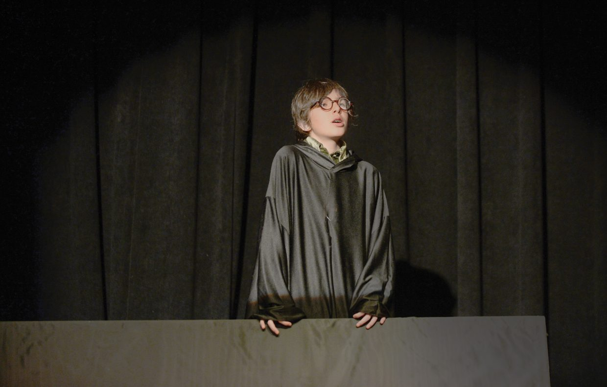 "Miles Borden rehearses a scene from the Emerald Mountain School's production of Shakespeare's ""The Tempest"" on Wednesday at the Chief Theater in downtown Steamboat Springs. The middle school students will hold two performances at 2 and 6 p.m. Thursday at the Chief Theater."