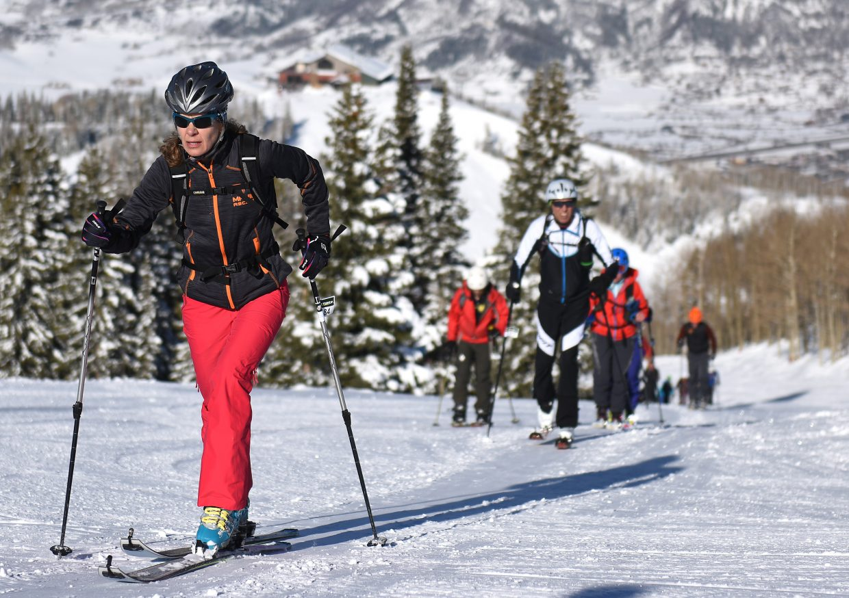 Ann Barbier leads a pack of skiers up Mount Werner on Saturday during Cody's Challenge.