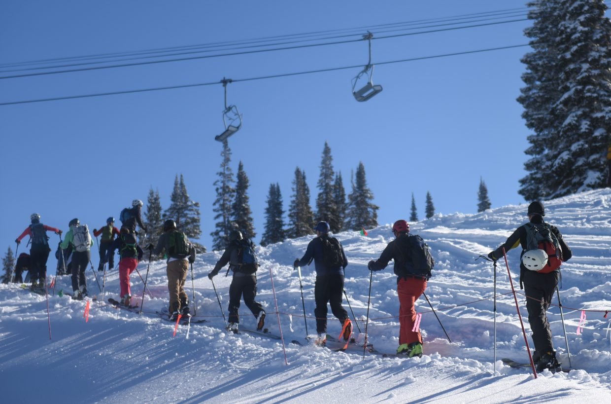 Racers charge up Mount Werner on Saturday during Cody's Challenge.