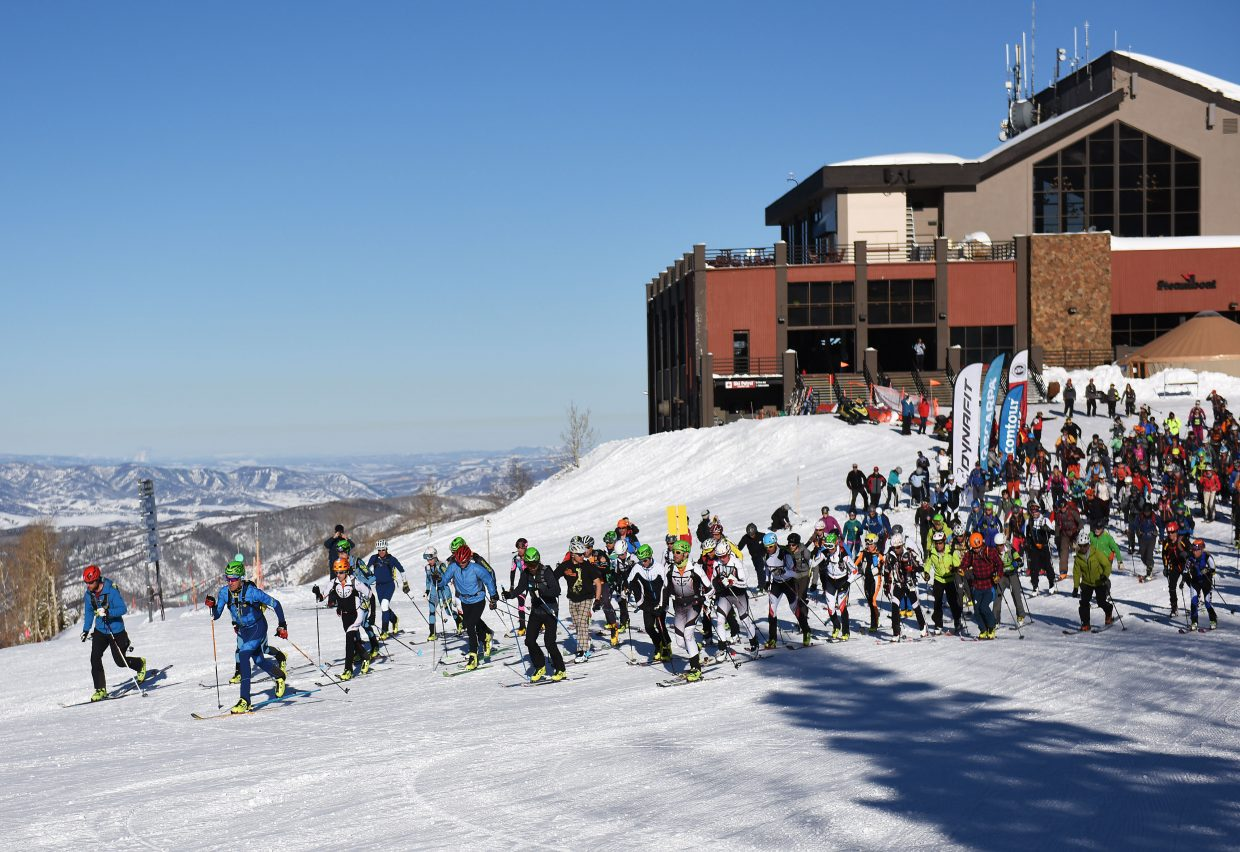 Racers take off from the starting line during Cody's Challenge on Saturday at Steamboat Ski Area.