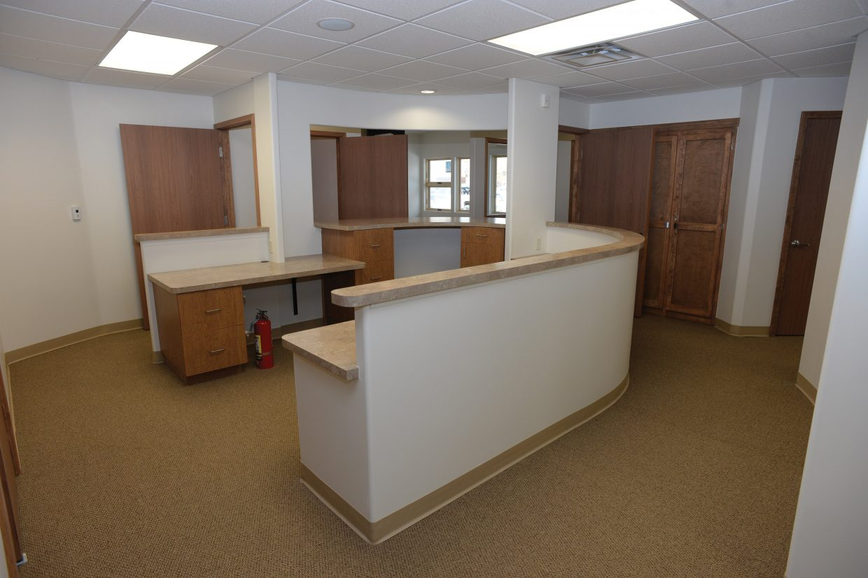 The newly renovated front desk at the South Routt Medical Center in Oak Creek looks ready to greet patients. Staff will be moving into the new building April 11.