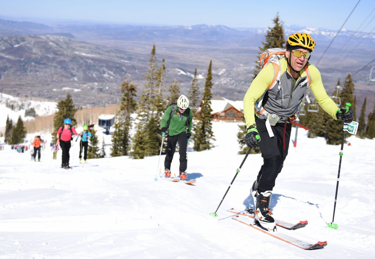 Graham Muir leads a pack of skiers up Mount Werner. His Manic Training organization brought nearly 90 athletes to the seventh-annual Cody's Challenge.