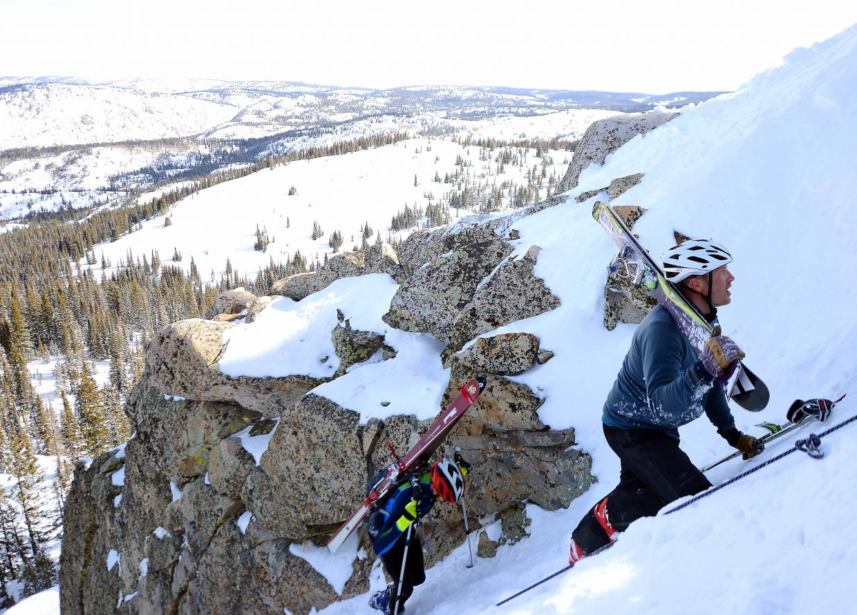 Andy Picking climbs Saturday during Cody's Challenge at Steamboat Ski Area.