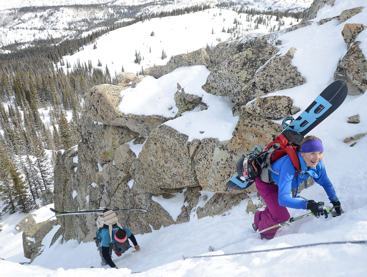 Stacia Decker climbs Saturday during Cody's Challenge at Steamboat Ski Area.