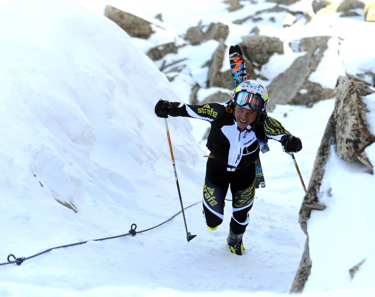 Max Taam makes his way up the Rancid Tuna couloir Saturday at Steamboat Ski Area. The Aspen Mountain ski patroller won Cody's Challenge for the third time in four years.