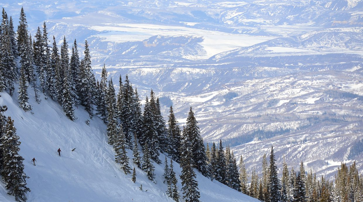 Skiers competing in Cody's Challenge ski down Chute 1 at Steamboat Ski Area on Saturday.