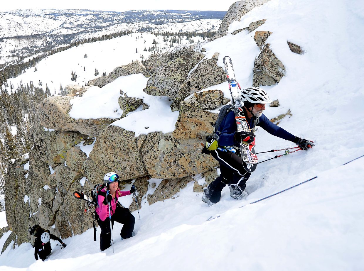 David Wallace leads a pack of skiers during Saturday's Cody's Challenge.