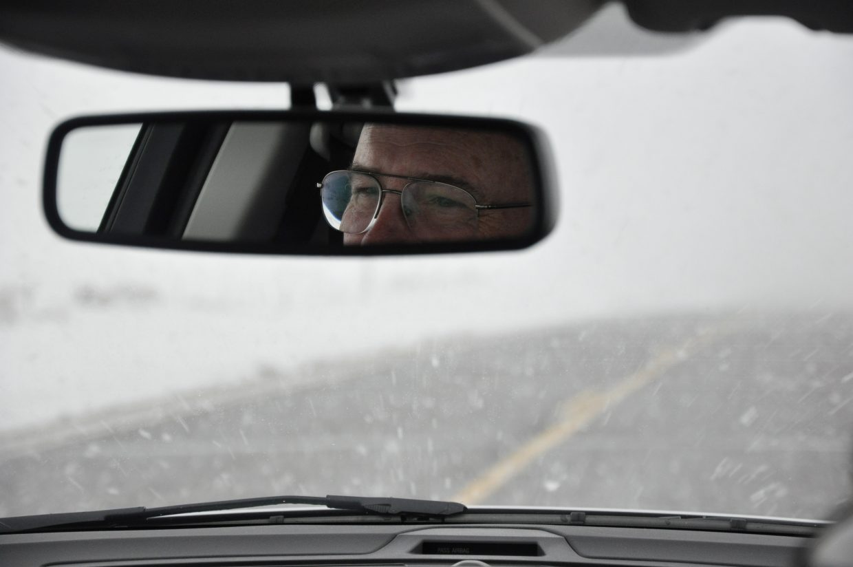 Jim McGee drives through a blinding snowstorm near Toponas after visiting the Grand Junction VA Medical Center. McGee, a Navy veteran, volunteers to drive fellow veterans to the hospital for medical appointments.