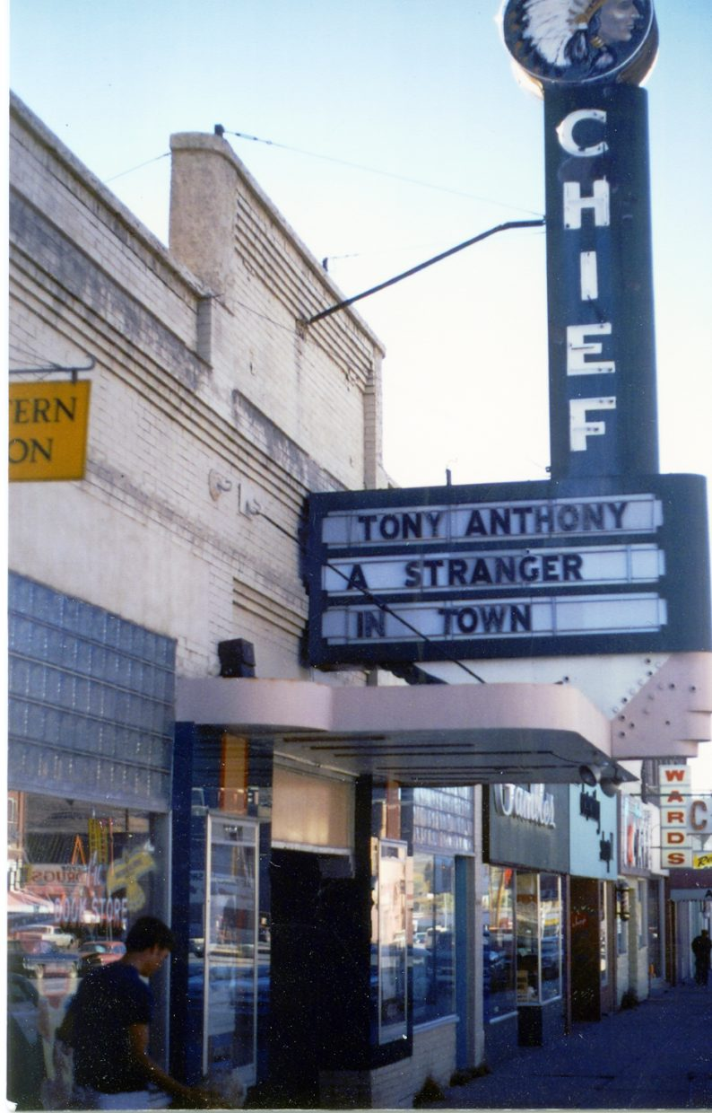 The Chief Theater marquee in downtown Steamboat Springs in an earlier era. The theater will close for several weeks to allow the removal of a pole in the midst of the seating area.
