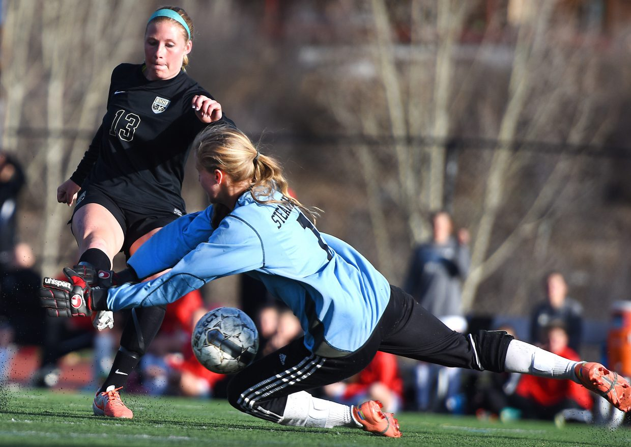 Steamboat's Ocoee Wilson did just enough to get in front of a Logan Nash strike on Tuesday in Steamboat. She couldn't do anything about the rebound shot, however, which Morgan Croke knocked in to start the scoring for Battle Mountain. The Huskies went on to beat Steamboat, 4-2.