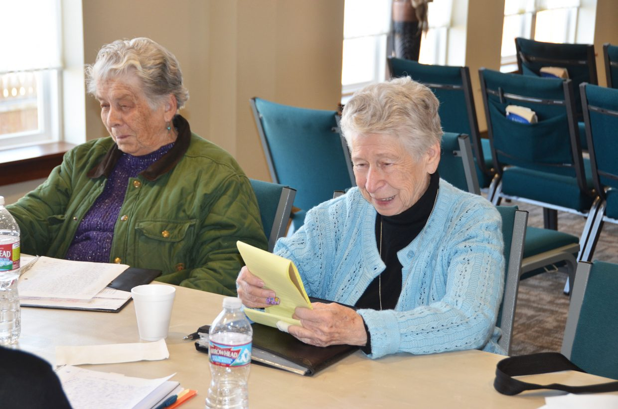 Phyllis Bingham reads from her writing, as Bonnie Villard listens, during a memoir writing session at The Journey at First Baptist Church of Craig. The session took place during Wellness Wednesday, part of the Aging Well programs offered throughout Moffat and Routt counties by the Northwest Colorado Visiting Nurse Association. The memoir classes are offered through Colorado Northwestern Community College.