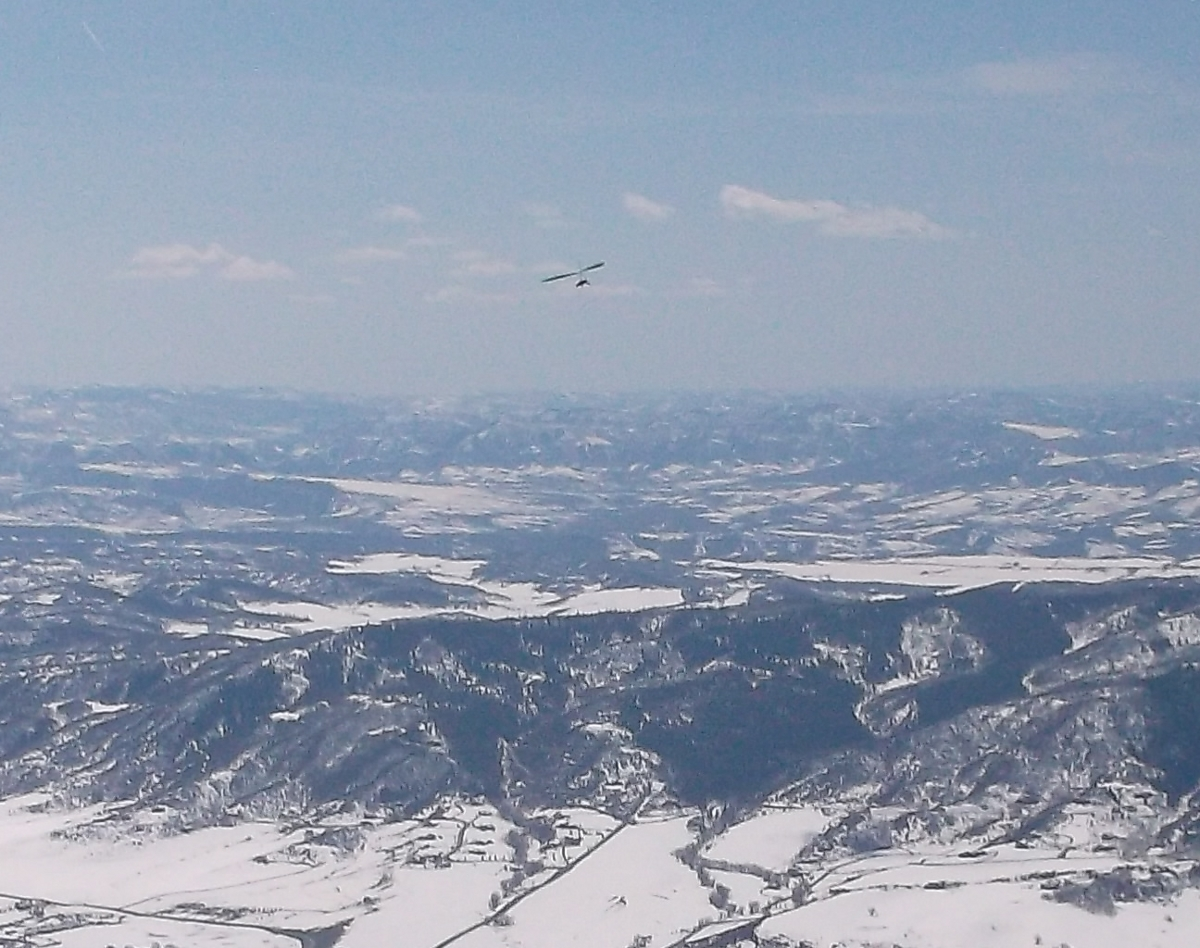Hang glider from Storm Peak. Submitted by: Rhys Jones