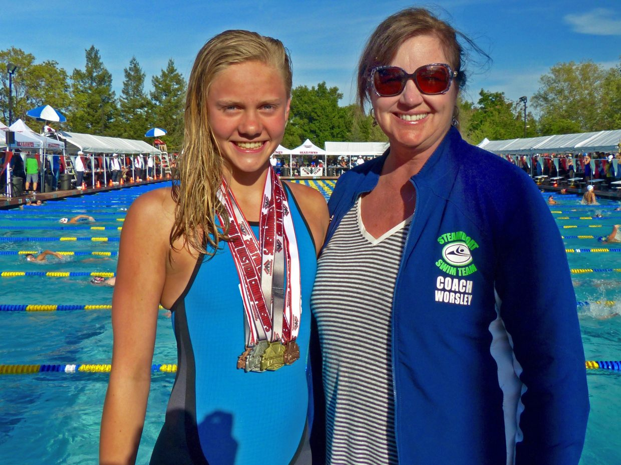 Steamboat Springs swimmer Jenna Smith, 12, seen here with coach Patti Worsley, finished fifth overall in the 11-12 year old girls' division of the Speedo Short Course Far Western Championships in Pleasanton, California, last week. Smith ranks in the top 30 nationally for her age group in both the 200-yard backstroke and 100-yard freestyle events.