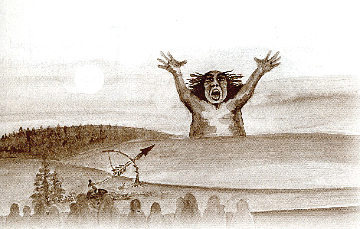 An illustration from Trenia Sandford's book recounting her grandmother's story about the origins of the sleeping giant.