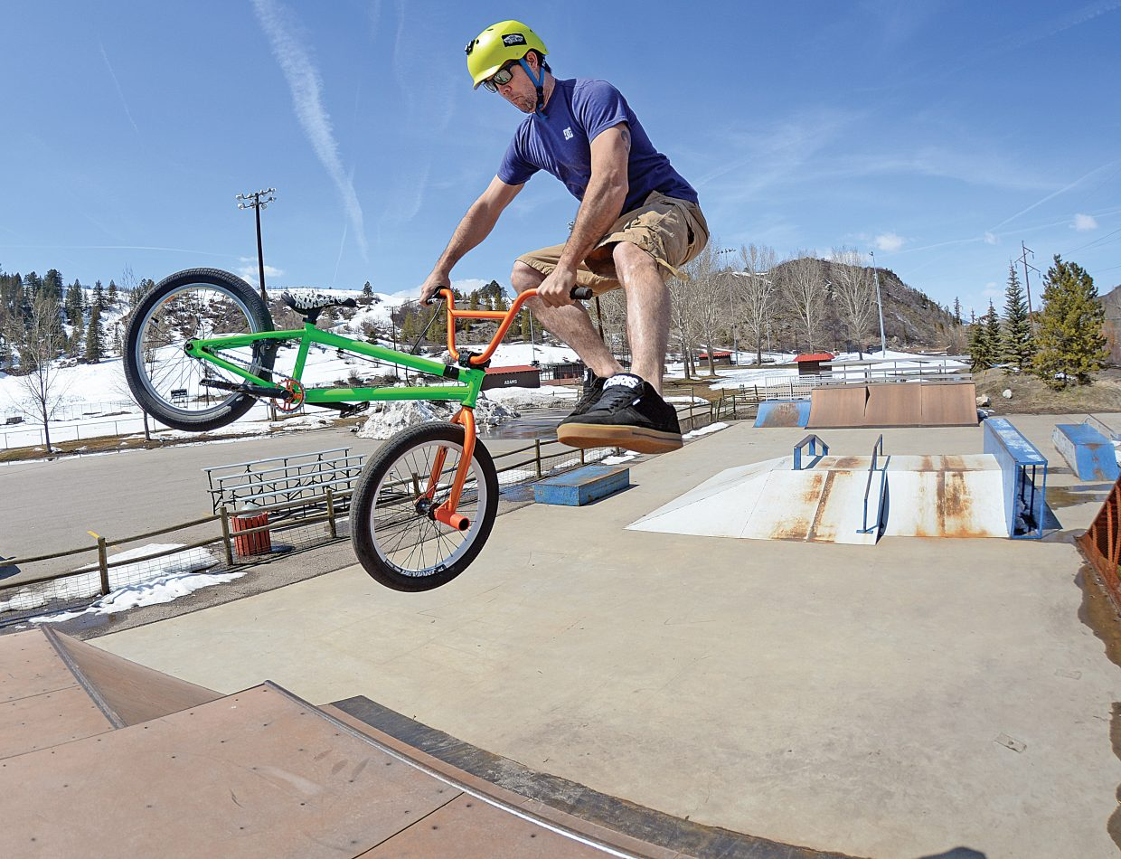 Freestyle BMX rider Raymond Gabriel hits a ramp Tuesday at the Howelsen Hill Skate Park in downtown Steamboat Springs.