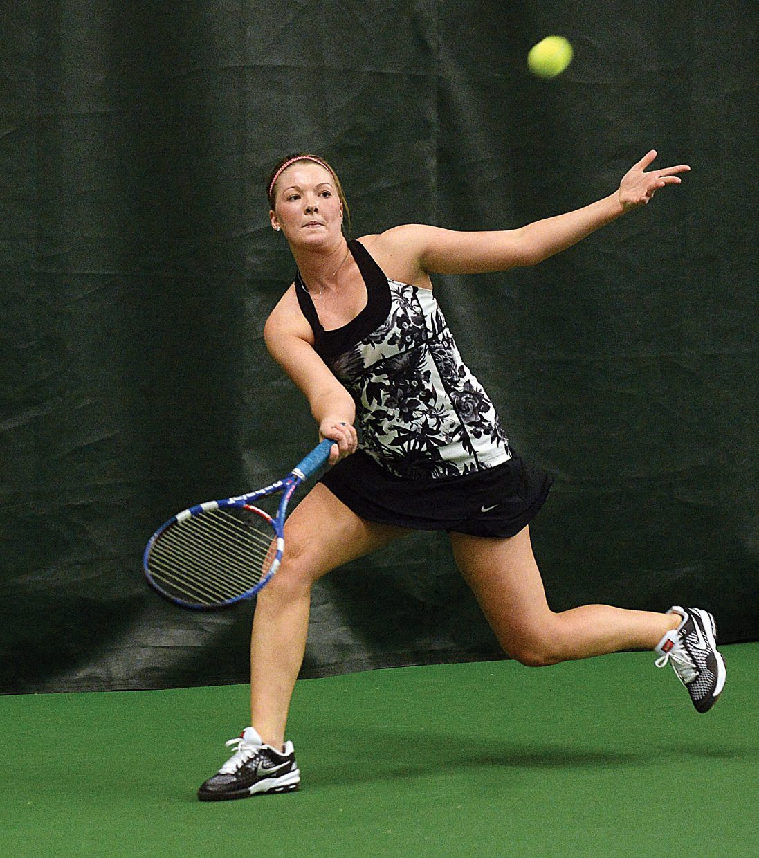 Ellie Bender returns a shot during a match against Vail Mountain's Courtney Thomas on Tuesday afternoon at the Tennis Center at Steamboat Springs. Bender won the match, 6-3, 6-4, and the Sailors swept the Gore Rangers, 7-0.