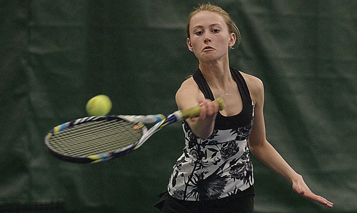 Steamboat Springs' Sydney Boyd returns a shot during a match against Vail Mountain's Courtney Thomas on Tuesday afternoon at the Tennis Center at Steamboat Springs. Boyd and teammate Shannon Ross won the match, 6-0, 6-1, and the Sailors swept the Gore Rangers, 7-0.