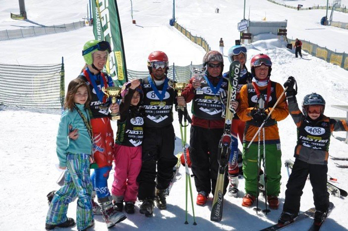 Steamboat Springs Telemark skiers scored big results at the NASTAR National Championships event at Snowmass Ski Resort. From left, Rebecca Poper was second in the 8- and 9-year-old division. Lyta Foulk was first in the 14- and 15-year-old division and the overall NASTAR girls national Telemark champion. Emma Poper was first in the 8- and 9-year-old division. Josh Poper laid down the overall faster Telemark time of the championship, winning the raw time award. Tom Degroff was first in the 65-69 age division and the winner of the time-handicapped NASTAR Telemark National Championship. Anna Allsbury was first in the 13- and 14-year-old girls division, Frank Becker was first in the 13- and 14-year-old boys division and Sal Malone was first in the boys 8- and 9-year-old division. Steamboat ended up with three of the four overall national championships and six age-group national championships in Telemark.