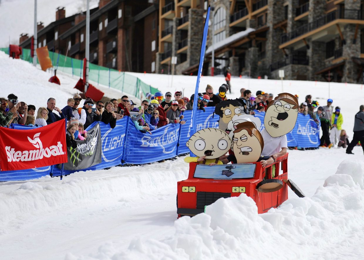 The Family Guy craft comes down the course during the Cardboard Classic on Saturday at the Steamboat Ski Area.