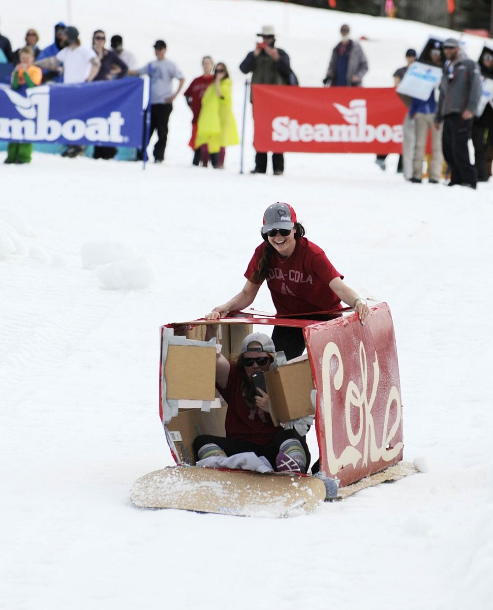 A Coke can comes down the course during the Cardboard Classic on Saturday at the Steamboat Ski Area.
