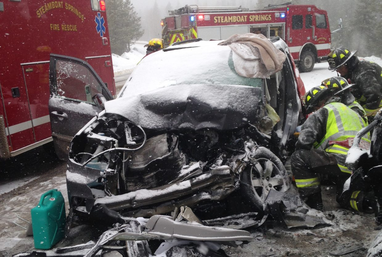 One of the passengers in a two-vehicle accident on Rabbit Ears pass Sunday morning was trapped inside the vehicle and had to be extricated by Steamboat Springs emergency responders.