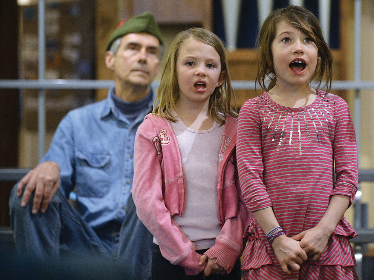 Virginia Boyd, front, Zoe Anfang, middle, and Gerry Audesirk rehearse for the children's section of th Yampa Valley Singers' spring performance. The Yampa Valley Singers will host its annual spring concert at 7 p.m. Friday and 4 p.m. Saturday at the United Methodist Church in Steamboat Springs.