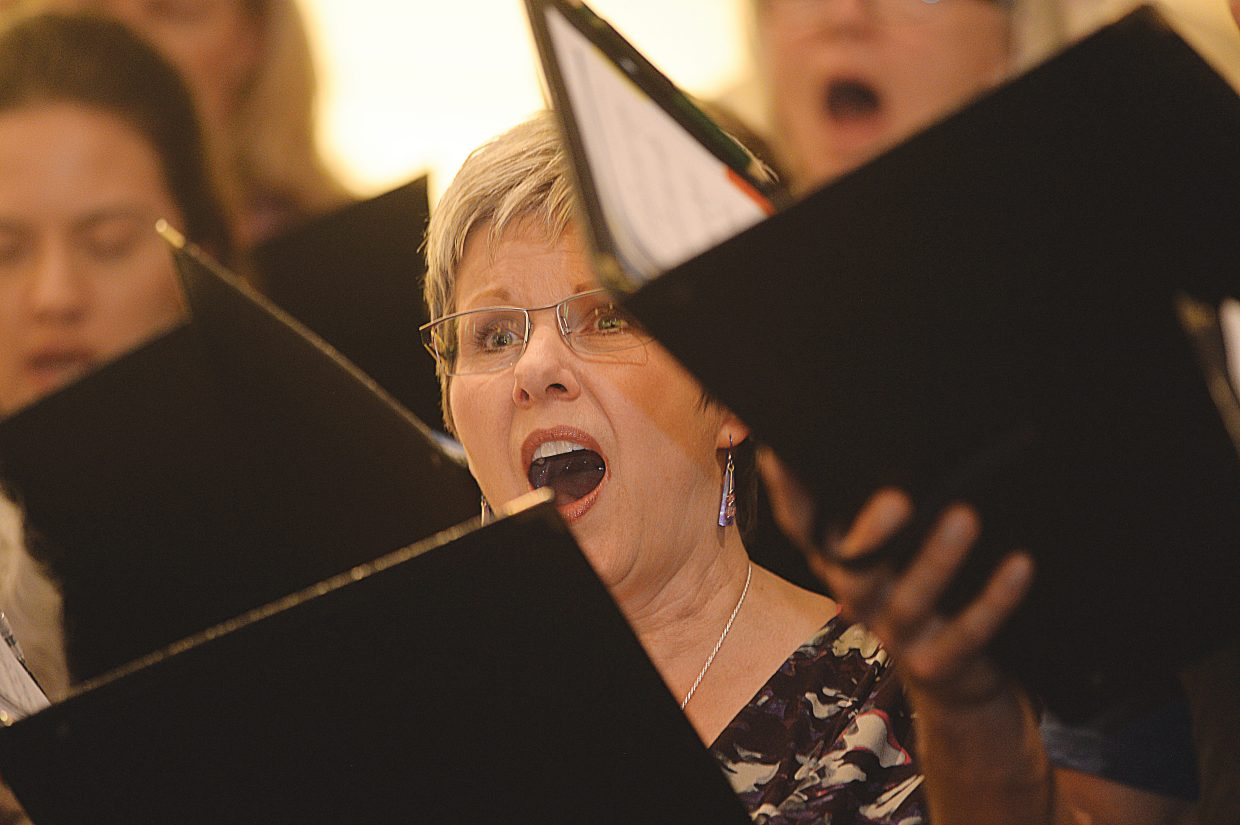 Juli Montes, of the Yampa Valley Singers, hits her note while rehearsing for the group's spring performance. The Yampa Valley Singers will host its annual spring concert at 7 p.m. Friday and 4 p.m. Saturday at the United Methodist Church in Steamboat Springs.