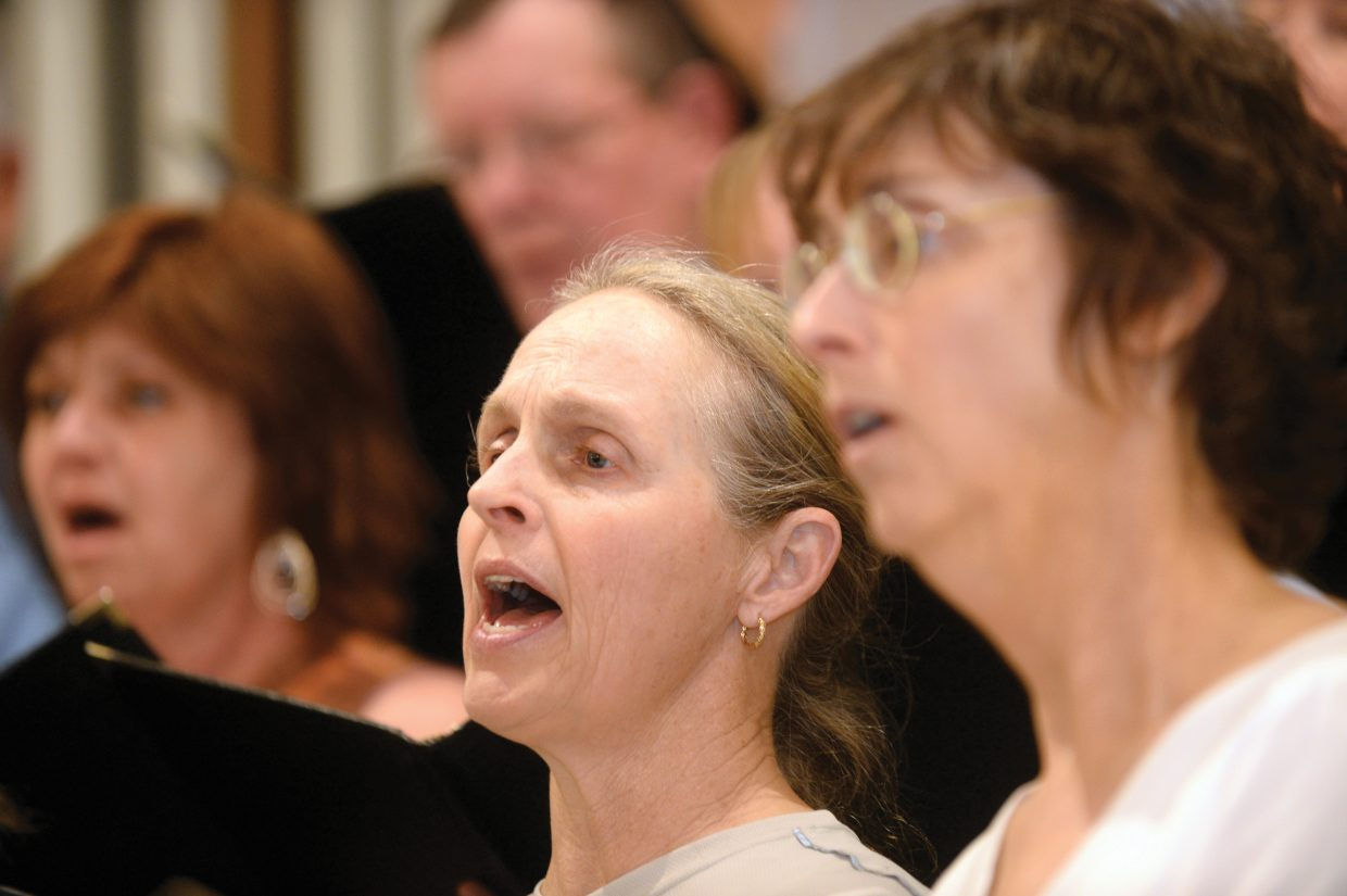 Linda Casner, of the Yampa Valley Singers, hits her note while rehearsing for the group's spring performance. The Yampa Valley Singers will host its annual spring concert at 7 p.m. Friday and 4 p.m. Saturday at the United Methodist Church in Steamboat Springs.