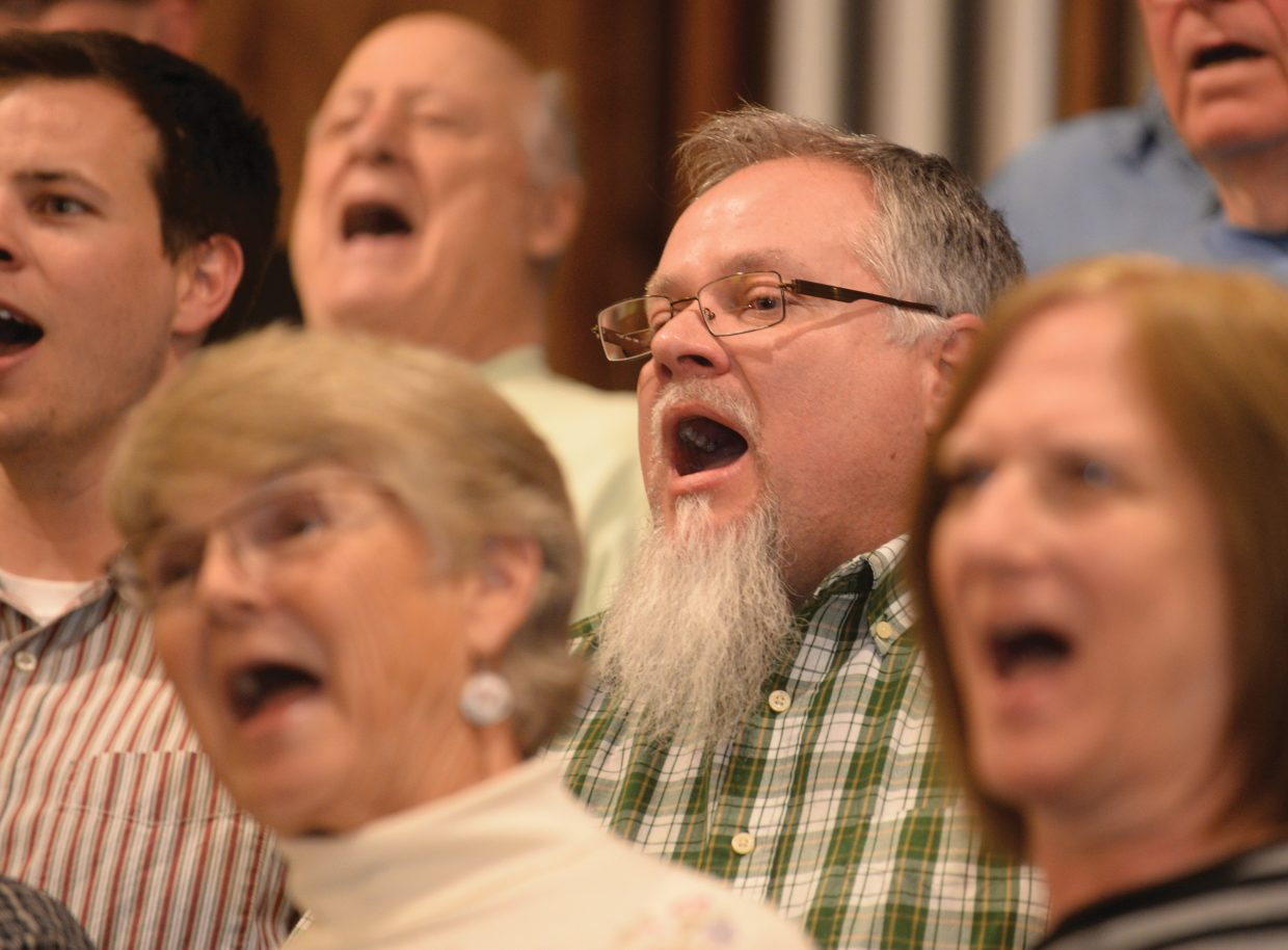 Yampa Valley Singers' Joe Becker, middle, belts out a note while reheasing for the gorup's spring performance. The Yampa Valley Singers will host its annual spring concert at 7 p.m. Friday and 4 p.m. Saturday at the United Methodist Church of Steamboat Springs.