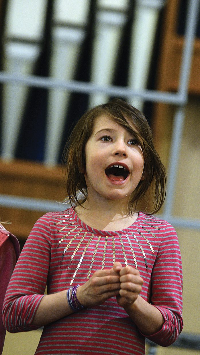 Virginia Boyd hits her note while rehearsing for the children's section of th Yampa valley Singers' spring performance. The Yampa Valley Singers will host its annual spring concert at 7 p.m. Friday and 4 p.m. Saturday at the United Methodist Church in Steamboat Springs.