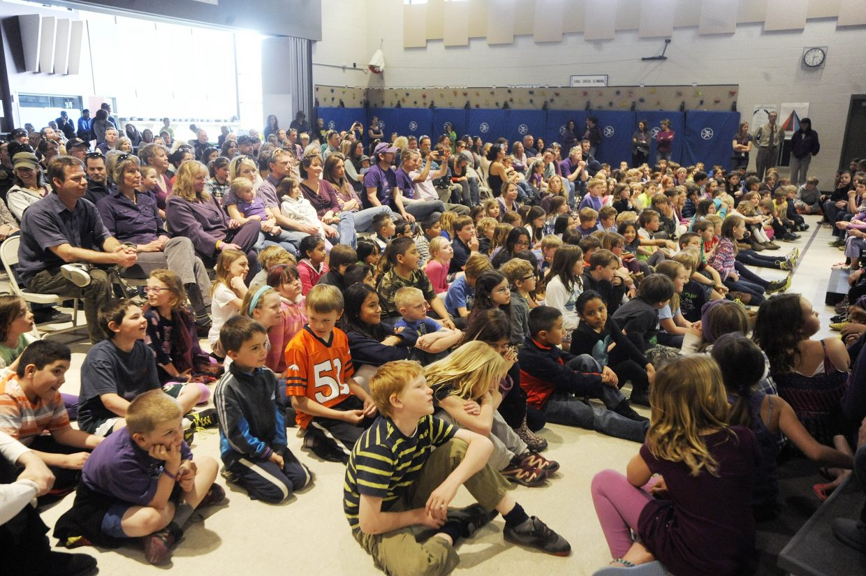 Soda Creek Elementary School students and parents attend Thursday's concert to honor former student Asher Lesyshen-Kirlan.