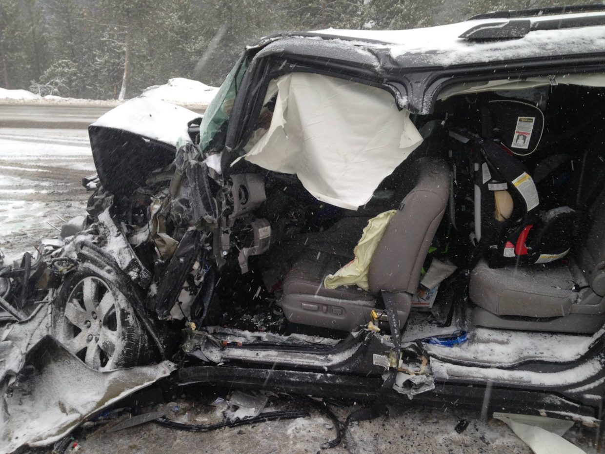 Steamboat Springs Fire Rescue emergency responders spend about 30 minutes extricating a 52-year-old Westminster man from his 2015 Honda Pilot after a head-on collision on Rabbit Ears Pass Sunday.