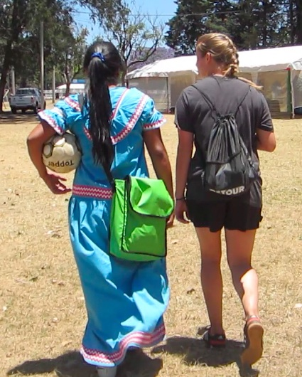 Dunia Gallardo plays soccer in the traditional dress of her people, the Ngöbe of Costa Rica. Here, Gallardo is talking with Steamboat's Jordan Edwards about representing her people through sport.