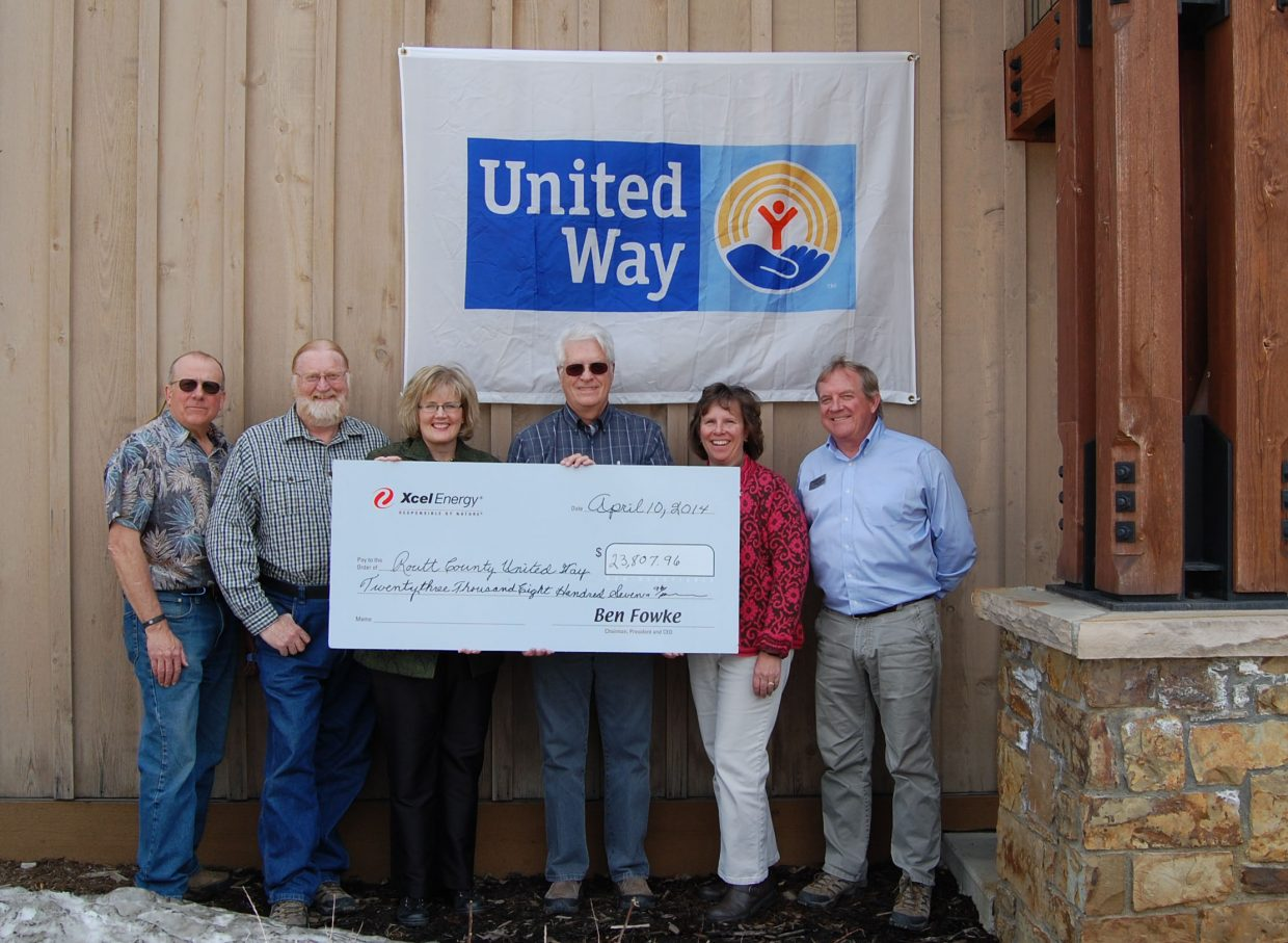 Fred Eggleston, Xcel Energy's manager of community and local government affairs, made a trip to Routt County United Way's office Thursday to present a $23,807.96 check. The check represents a 100 percent match to what Hayden power plant employees contribute to Routt County United Way. In attendance Thursday were, from left, Scott Ford, Steamboat Springs City Council member; Brian Berry, president of Routt County United Way; Kate Nowak, executive director of Routt County United Way; Eggleston; Nancy Mucklow, vice president of Routt County United Way; and Steve Ivancie, Routt County commissioner.