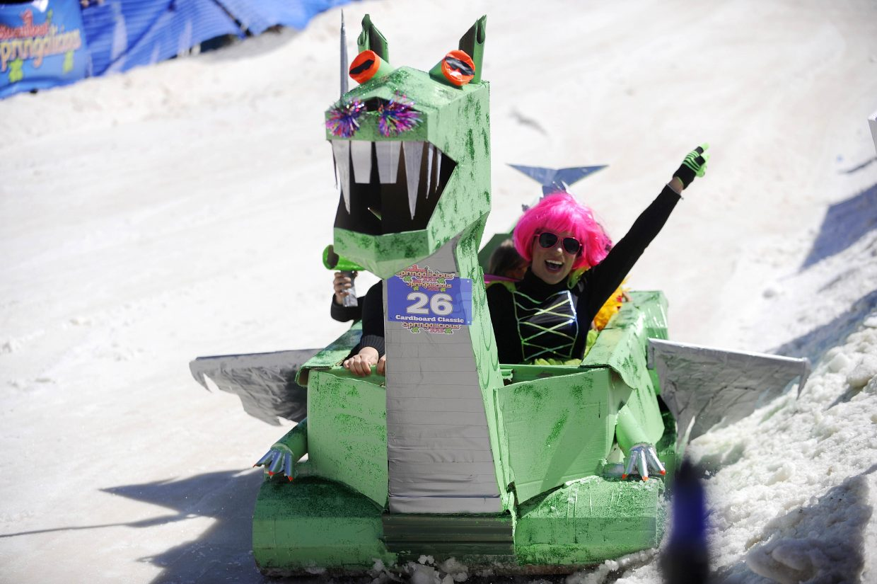 The Puff the Magic Dragon team comes down the course during the Cardboard Classic on Saturday at the Steamboat Ski Area.