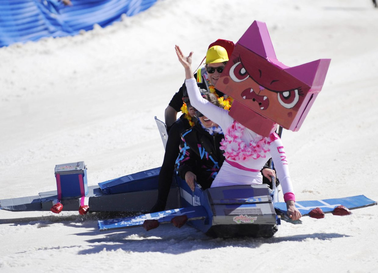 The X-Wing Fighter team races in the Cardboard Classic on Saturday at the Steamboat Ski Area.